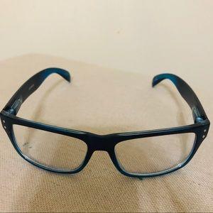 Blue reader eyeglasses.